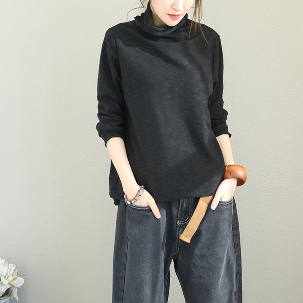 Loose High Neck Cotton Knitwear Women Casual Tops Q1870