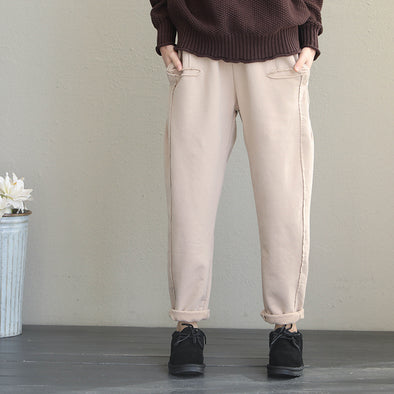 Women Brushed Thicken Casual Pants For Winter Q1927
