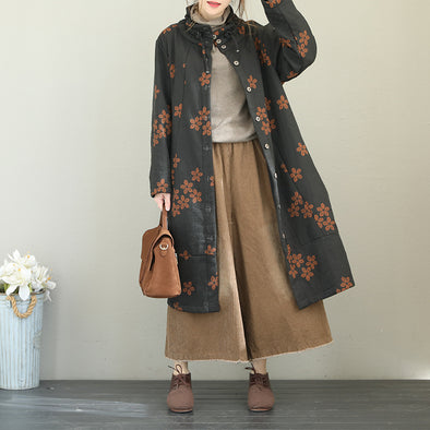 Vintage Cotton Linen Thicken Long Women Winter Coat Q1876