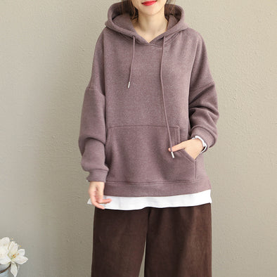 Women Casual Thicken Brushed Fleece Loose Tops Q1912