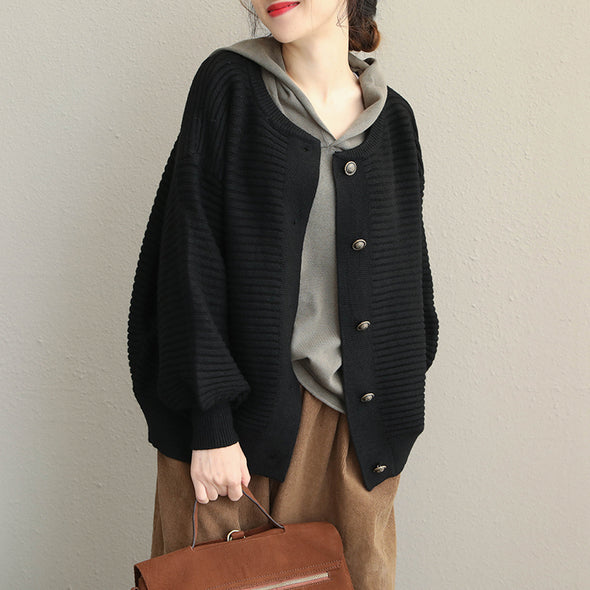 Black And Coffee Vintage Button Down Short Coat For Women Q1901