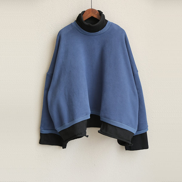 Vintage Casual Quilted Blue High Neck Fleece Women Cotton Tops Q1911