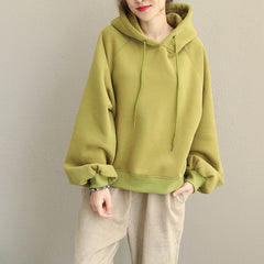 Loose Brushed Hoodie Fleece Women Casual Tops Q1910