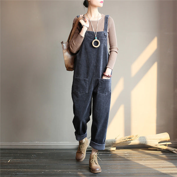 Vintage Women Corduroy Loose Overall Jumpsuit For Women
