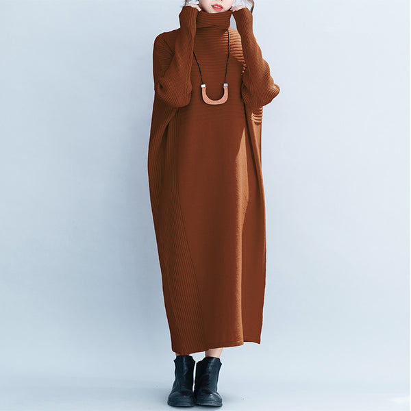 Women Loose High Neck Maxi Sweater Dresses Q26118