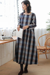 Women's Loose Cotton Blue Checked Dress