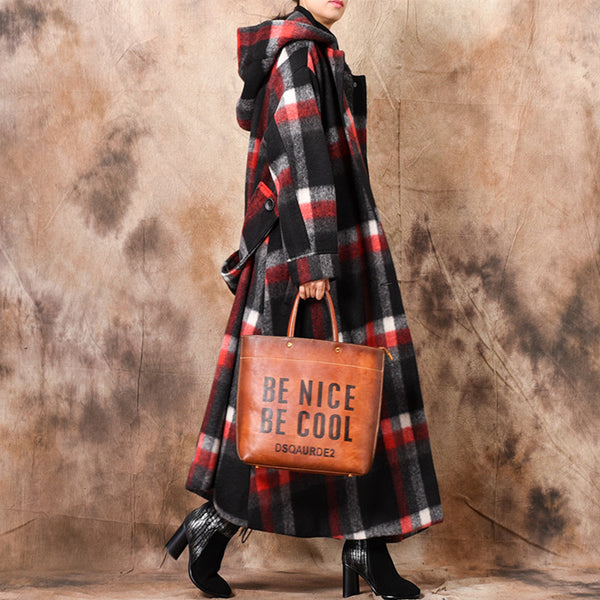 Women Loose Hoodie Plaid Woolen Overcoat Casual Outfits C31127