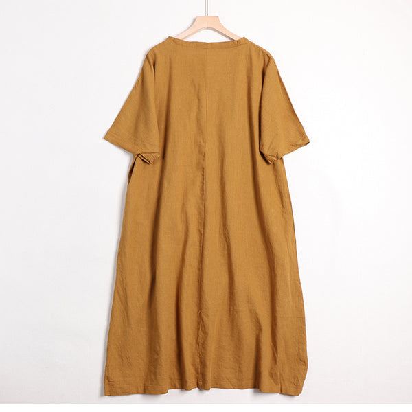 Women's Simple Solid Color Linen Dress For Summer