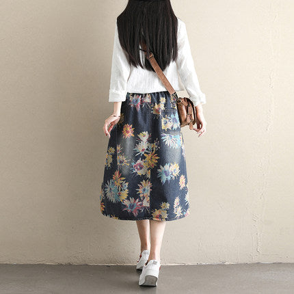 Summer High Waist A Line Print Cowboy Skirt For Women S180