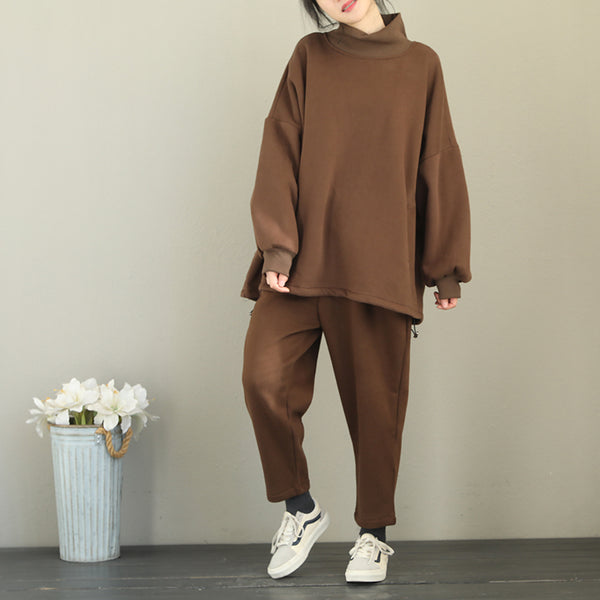 Women Loose Brushed Suit Casual Fleece With Harem Pants Q2102