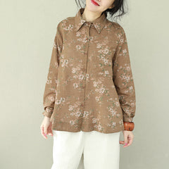 Spring Vintage Cotton Linen Floral Loose Shirt Women Casual Blouse Q2193