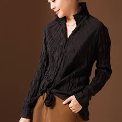 Black And Red Casual Cotton Shirt Women Loose Spring Blouse C309