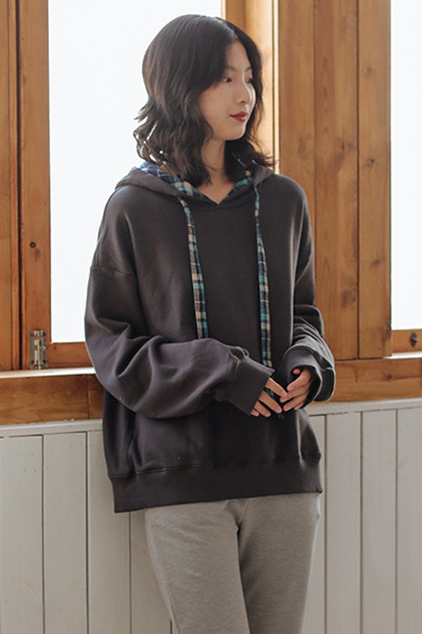 Women Cotton Gray Loose Hoodie Fleece