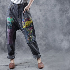 Vintage Embroidery Casual Jeans Women Loose Cowboy Pants W3560