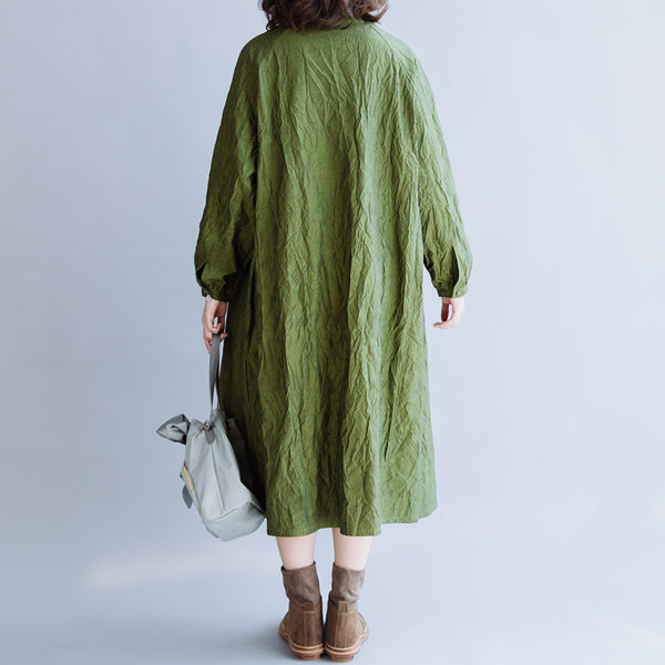 Green Pleated Cotton Loose Dress For Women