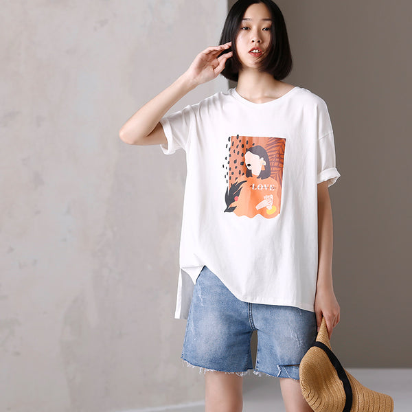 Cute White Print Cotton Summer Shirt Women Loose Tops T2979
