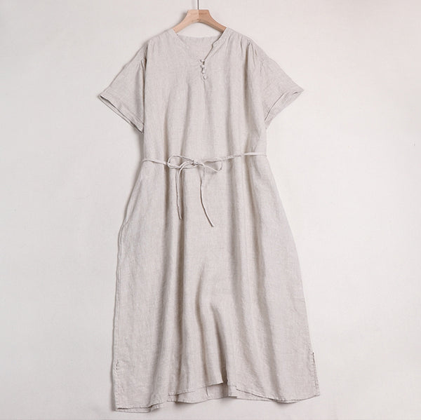 Pure Linen  V-Neck Casual Summer Dresses For Women