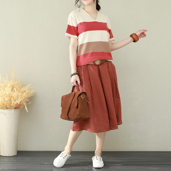 Women Red Striped Cotton Shirt Summer Loose Thin Blouse Q2675