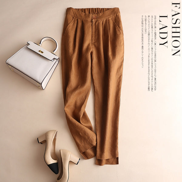 Simple Pure Color Linen Casual Turnip Pants For Women