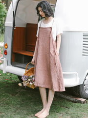 Summer Cool Pink Linen Strap Dresses Women Loose Sundress Q19063