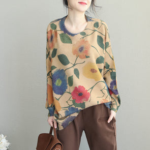 Women Vintage Flower Loose Sweater Casual Winter Tops Q1929