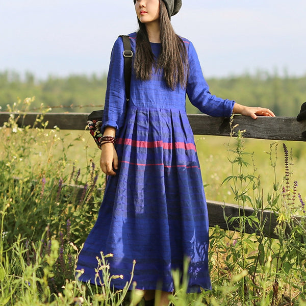 Women Loose Linen Blue Striped Dress