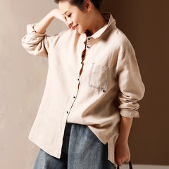 Beige Button Down Linen Blouse Casual Spring Tops For Women C9911