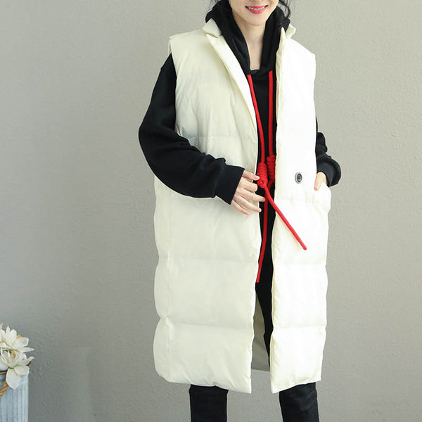 Korea Style Long Thick Waistcoat Women Casual Winter Tops Q2068