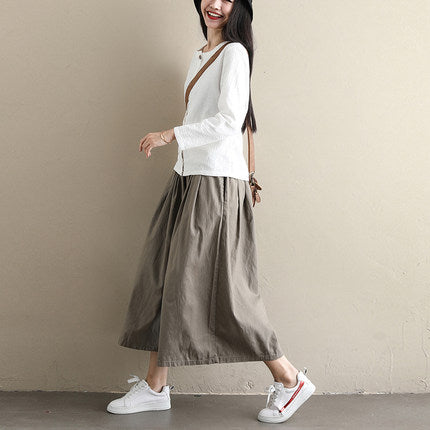 Summer High Waist Loose Pants Casual Pure Color Wide-leg Trousers For Women K107
