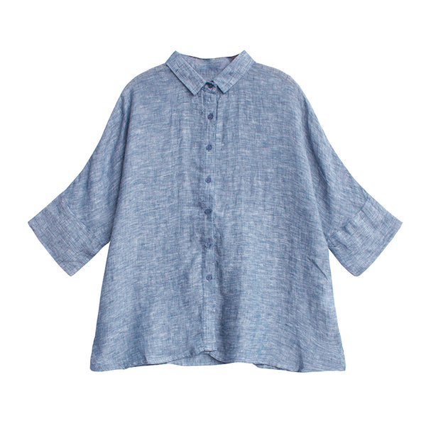 Blue And Yellow Linen Summer Blouse Women Loose Tops S9404