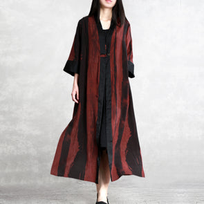 Vintage Loose One Button Long Silk Wind Coat For Women C11031