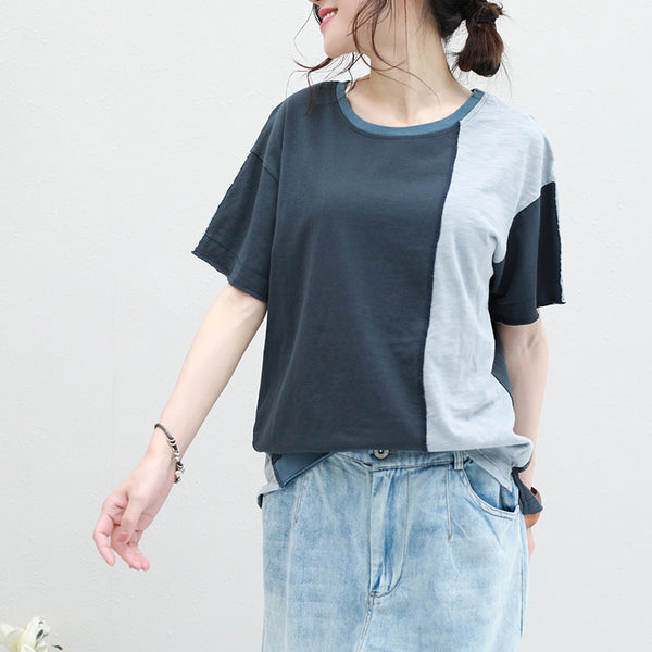 Loose Quilted Simple Cotton Shirt Women Summer Tops Q2808