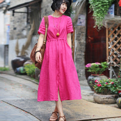 Women Vintage Linen Rose Striped Round Neck Dress