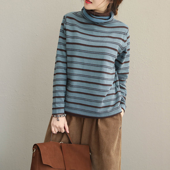 Casual High Neck Striped Fitted Cotton Sweater For Women Q1905