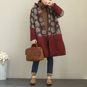 Vintage Flower Print Red Long Winter Coat For Women Q1867