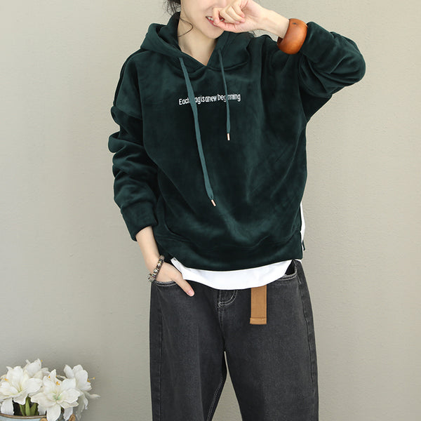 Korea Style Hoodie Thick Fleece Women Loose Tops Q2082