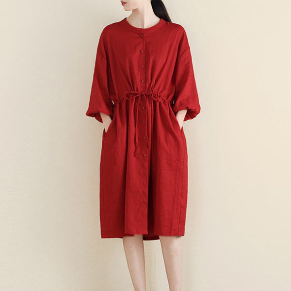 Women Loose Linen Cardigan Belted Dress