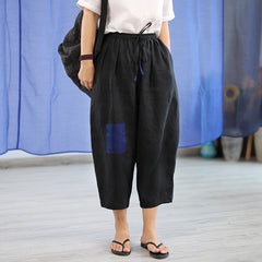 Women's Casual Linen Spliced Harem Pants