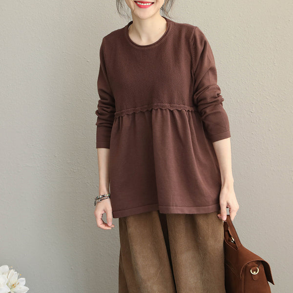 Loose Pure Color Casual Sweater Women Fashion Tops Q1906