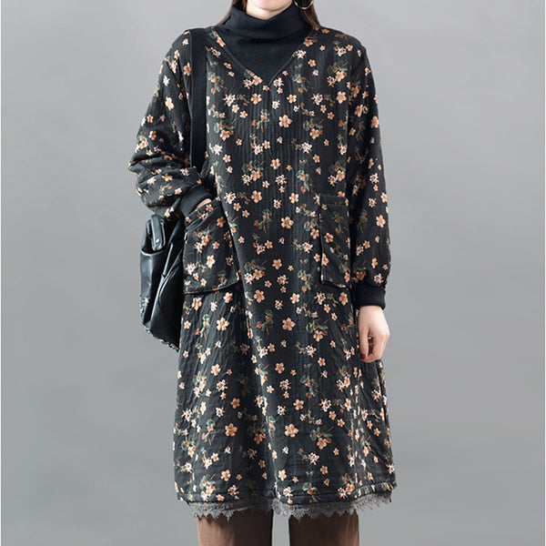 Winter Retro Lace High Collar Dress For Women