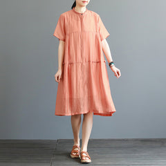 Women Loose Orange And Khaki Dresses For Summer Q25041