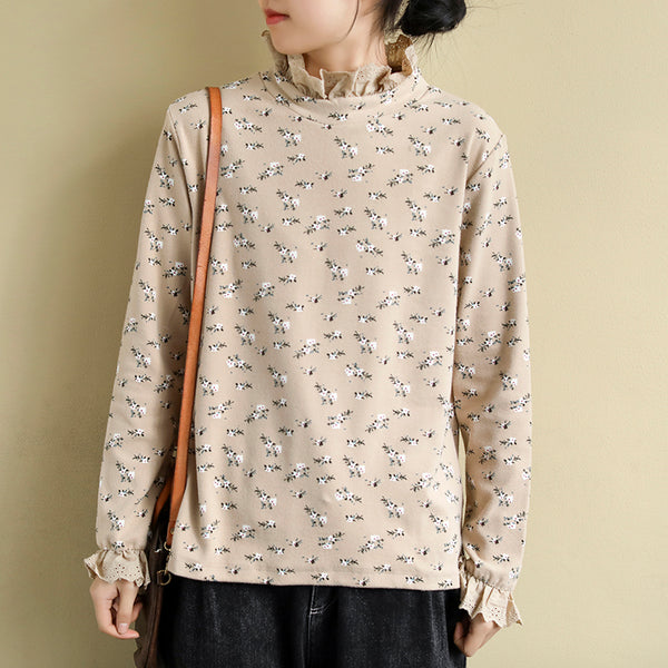 Women's Loose Printed Lace Edge Tops