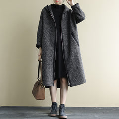 Plus Size Loose Hooded Coat For Women