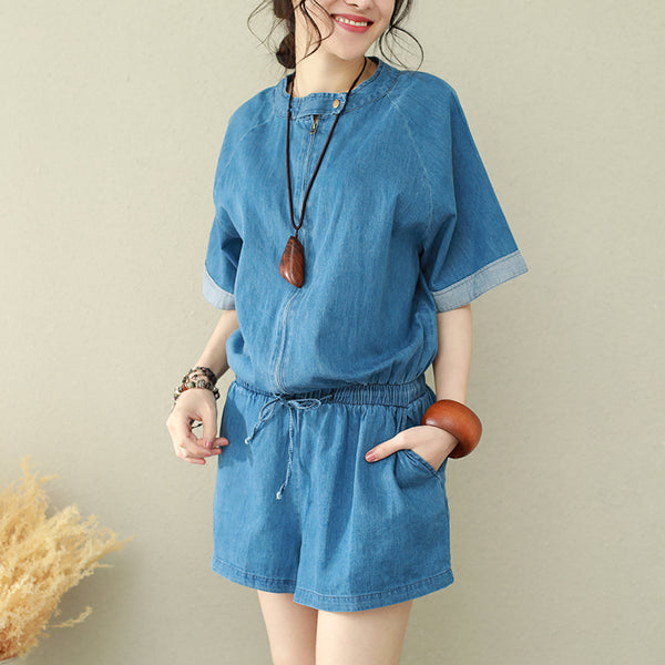 Casual Simple Blue Cowboy Suspender Women Summer Loose Overalls Q2660