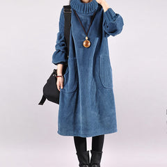 Women Loose Turtleneck Corduroy Dress