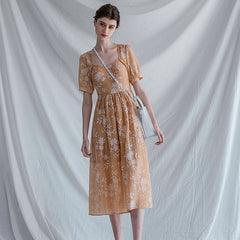 Casual Women Vintage Orange Dresses Summer Cute Clothes Q30048