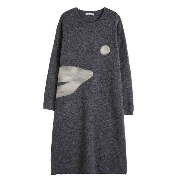 Women's Casual Gray Round Neck Knit Dress
