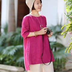 Women's Loose Casual Linen Half Sleeves Shirt