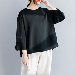 Women's Loose Lace Spliced Fleeces Tops