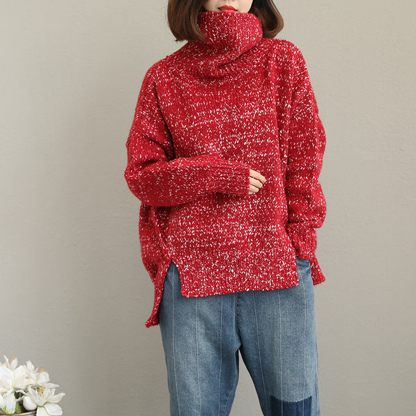 Women Red Loose High Neck Sweater For Winter Q2038